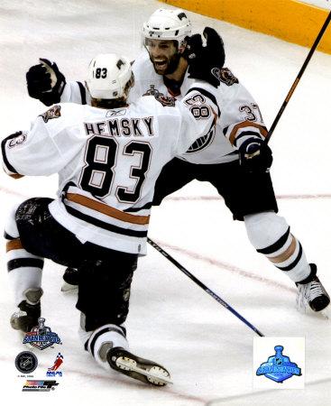 Hemsky and Peca score in the 2006 Stanley Cup Finals.