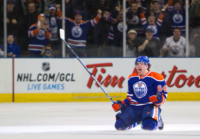 Nail Yakupov celebrates scoring the game-tying goal with 4.7 seconds left in regulation.