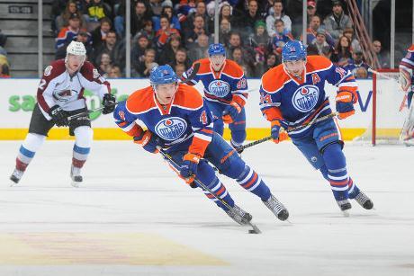Taylor Hall, Jordan Eberle & RNH move in on goal.  Image courtesy Edmonton Journal.