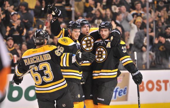 The Bruins celebrate a goal. Image courtesy of bruins.nhl.com.