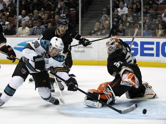 Logan Couture battles against the Ducks.  Image courtesy of usatoday.com.