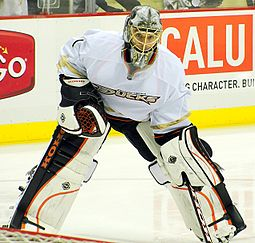 Jonas Hiller minds the net. Image courtesy of Wikipedia.org.