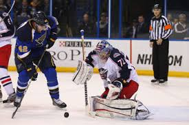 David Backes looks to put the puck in the net.  Image courtesy of zimbio.com.