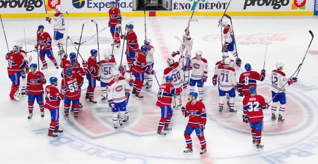 The Montreal Canadiens salute the crowd.  Image courtesy of the Montreal Gazette.