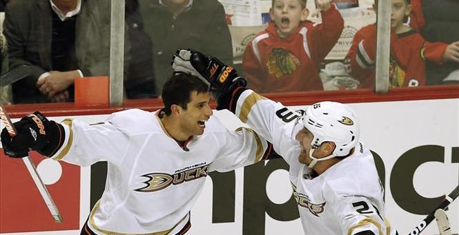 Andrew Cogliano celebrates scoring a goal.  Image courtesy of townhall.com.