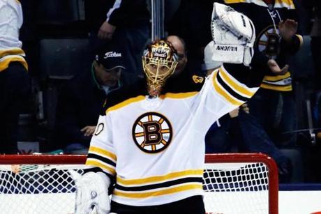 Rask salutes the crowd.  Image courtesy of Boston Globe.