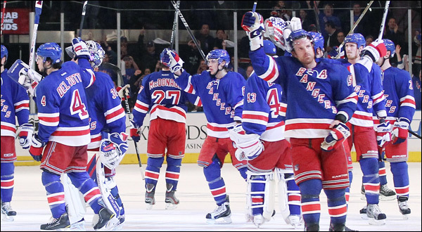 The Rangers salute the crowd.  Image courtesy of rangers.nhl.com.