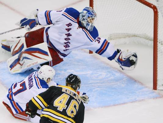 Henrik Lundvqist makes a sprawling save against the Bruins.  Image courtesy of usatoday.com.