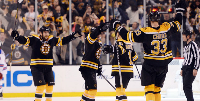 Bruins' players celebrate after their 3-1 victory over the New York Rangers in Game Five. (Courtesy of csnphilly.com)