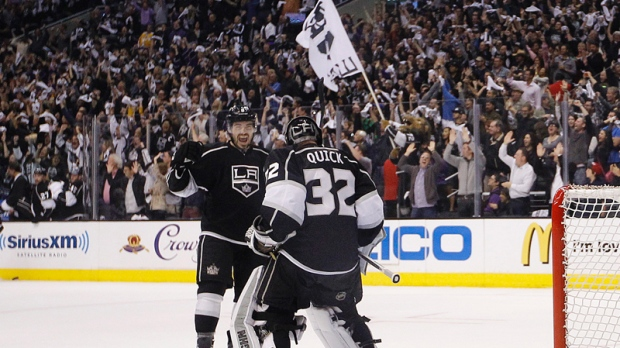 Defenceman Drew Doughty and Goaltender Jonathan Quick celebrate as the L.A Kings progress.  (Courtesy of ctvnews.ca)
