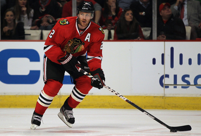 Duncan Keith has led the Chicago Blackhawks in ice time each year since entering the league in 2005-06.  (Courtesy of bleacherreport.com)