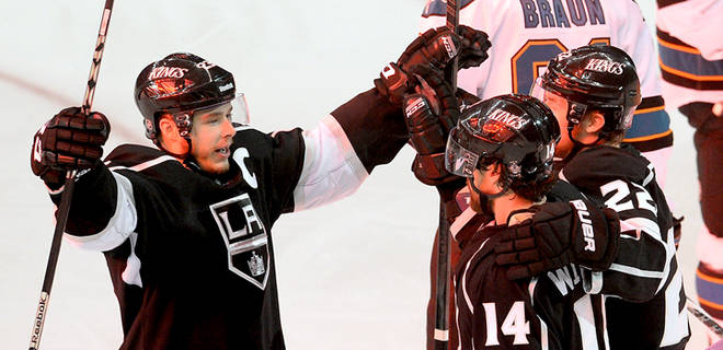 L.A Kings' Captain Dustin Brown celebrates after their Game Seven win over San Jose.  (Courtesy of foxsports.com)