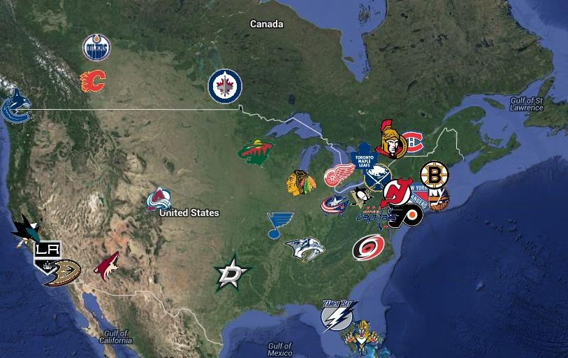 Map of NHL Teams no colours no boundaries