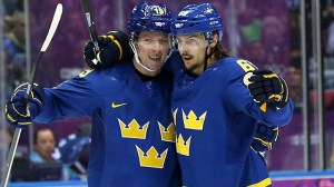 Karlsson celebrates goal. (Image courtesy of olympics.cbc.ca.)