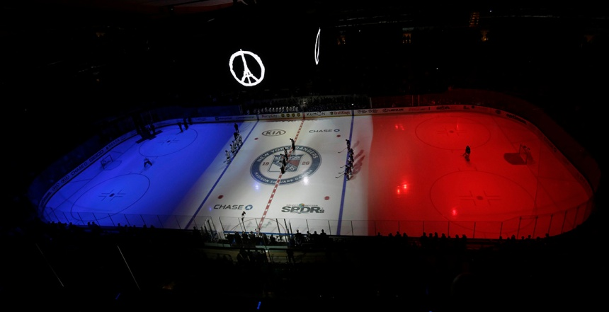 Nov 15, 2015; New York, NY, USA; A moment of silence is held prior to the Toronto Maple Leafs taking on the New York Rangers for the victims of the terrorist acts in France at an NHL hockey game at Madison Square Garden. Photo courtesy of slate.com