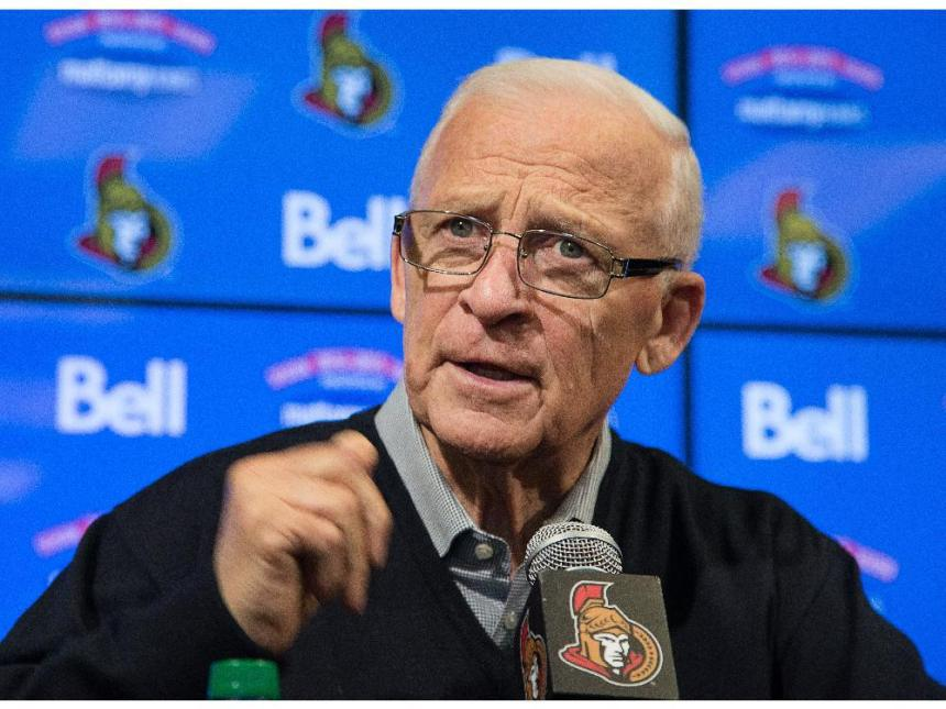 Ottawa Senators General Manager Bryan Murray talks to the media after the NHL trading deadline began at 3pm on Monday. Assignment - 119953 Photo taken at 15:36 on March 2. (Wayne Cuddington/Ottawa Citizen)
