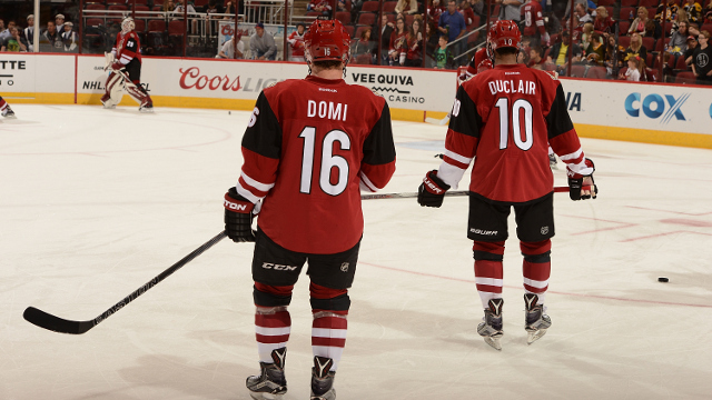 GLENDALE, AZ - OCTOBER 17:  Rookies Max Domi #16 and Anthony Duclair #10 of the Arizona Coyotes skate on to the ice before the start of a game against the Boston Bruins at Gila River Arena on October 17, 2015 in Glendale, Arizona.  (Photo by Norm Hall/NHLI via Getty Images)
